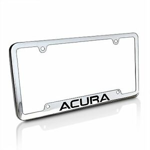 Acura Chrome Brass License Plate Frame With Logo Screw Covers