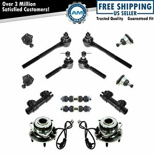 14 Piece Steering Suspension Kit Wheel Bearings Ball Joints Tie Rods End Links