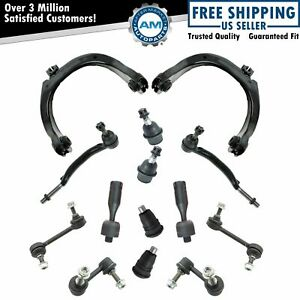 14 Piece Steering Suspension Kit Control Arms Tie Rods Sway Bar Links New