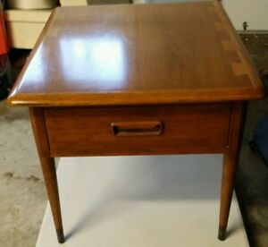 Mid Century Modern Lane Acclaim Dovetail Walnut End Table W Drawer