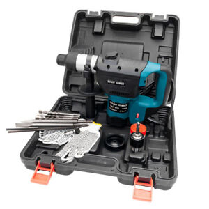 New Blue 1 1 2 110v Sds Plus Steel Rotary Hammer Drill Case Electric Tool