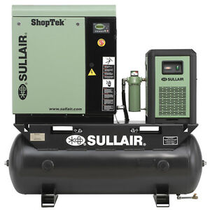Sullair 15 hp Rotary Screw Air Compressor W 120 Gallon Tank Refrigerated Dryer