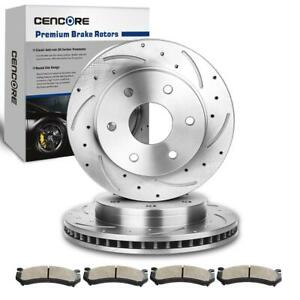 For 1999 2006 Gmc Sierra 1500 2 Front Drill Slot Brake Disc Rotors 4 Pads