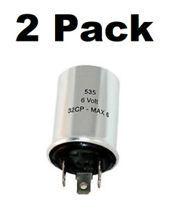 3 Prong Turn Signal Flasher 535 Relay 6 Volt Vintage Cars Positive Ground 2 Pack