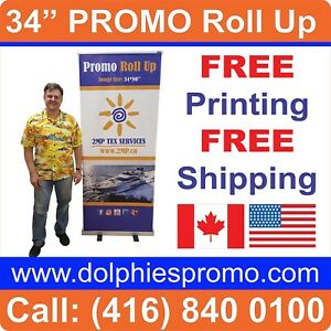 Trade Show 34 80 Retractable Banner Stands Pop Roll Up Display Free Printing