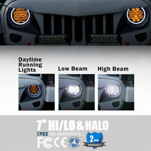 Pair 7 Inch Round Amber Drl Halo Led Headlight For 97 18 Jeep Wrangler Tj Jk
