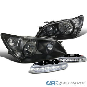 For Lexus 01 05 Is300 Black Driving Headlights Clear 6 Led Fog Bumper Lights