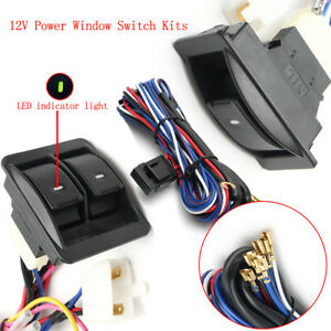 12v Universal Power Window Switch Kits With Wiring Harness Switch Holder Us