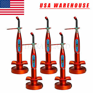 5sets Dental Wireless Cordless Led Curing Light Lamp Cure Unit 1500mw Red Red Us