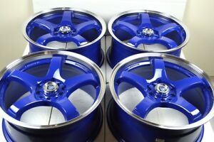 17 Blue Wheels Rims Tsx Jetta Prius Corolla Civic Optima Soul Rav4 5x100 5x114 3