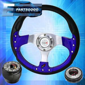 Blue Fusion Style Steering Wheel Hub Adapter Quick Release For 88 91 Civic