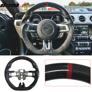 Fits 15 17 Mustang V4 Carbon Fiber Real Leather Steering Wheel Black Red Ring