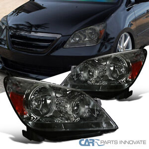 Fit 05 07 Honda Odyssey Replacement Smoke Lens Headlights Tinted Headlamps Pair
