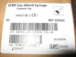 40 Each Bd Syringes 2 Oz 60 Ml Cc Catheter Tip With Cap 309620 Feeding Syringe