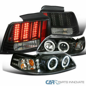 99 04 Mustang Black Halo Projector Headlights led Sequential Tail Bra