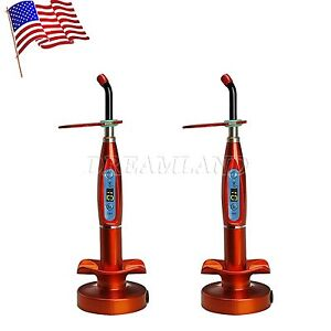 2pcs Dental Wireless Cordless Led Cure Curing Light Lamp Orange Seasky t1 F tb