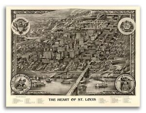 1907 St Louis Missouri Vintage Old Panoramic City Map 24x32