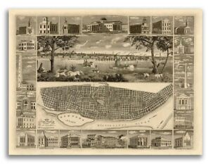1848 St Louis Missouri Vintage Old Panoramic City Map 20x28