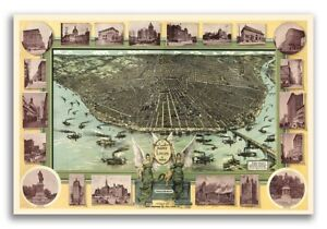 1896 St Louis Missouri Vintage Old Panoramic City Map 16x24