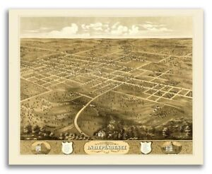 Bird S Eye View 1868 Independence Missouri Vintage Style City Map 20x24