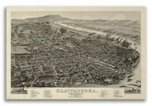 Bird S Eye View 1886 Chattanooga Tn Vintage Style City Map 20x30