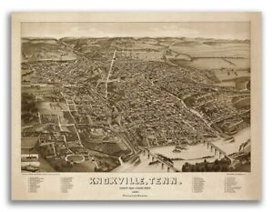 Bird S Eye View 1886 Knoxville Tn Vintage Style City Map 20x28