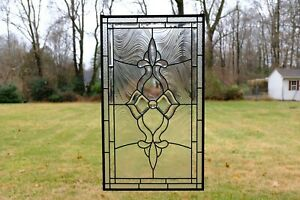 Stunning Handcrafted Stained Glass Clear Beveled Window Panel 20 5 X 34 5