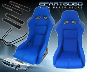2x Full Track drag race Jdm Style Blue Bucket Automotive Seats With Slider Rails