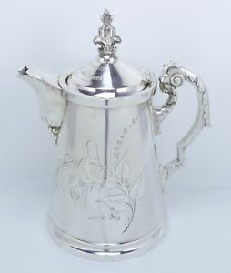 Antique Victorian Wilcox Silver Plate Figural Ram Head Coffee Pot From Captain