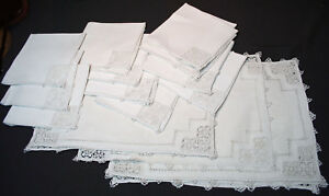 Antique Italian Placemats Nakins Set Of 20 Pointe De Venise Lace Needlelace