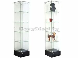 Glass Square Display Tower With Black Base Store Fixture Knocked Down sc gs20b