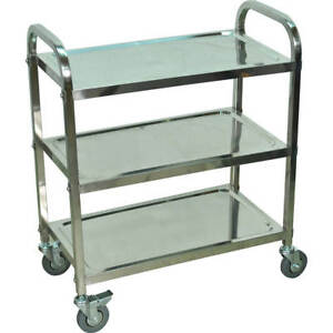 Luxor Three Shelf Utility Cart Stainless Steel L100s3