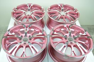 16 Pink Wheels Jetta Tiburon S40 V40 Civic Accord Corolla Mx3 4x100 4x114 3 Rims