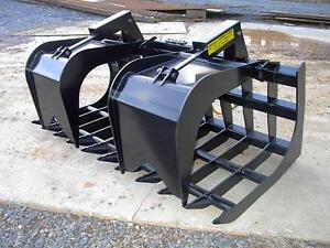 New Loflin Large Monster 96 8 Grapple Root Rake Skid Steer Loader Bobcat Cat