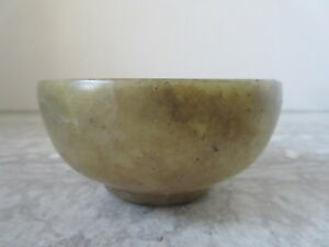 Antique Chinese Spinach Jade Tea Cup Or Sake Bowl 3 1 2 Dia