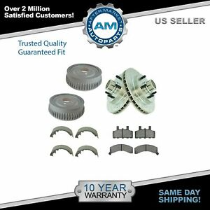 Front Performance Drilled Slotted Brake Rotor Pad Rear Drum Shoe Kit For Chevy