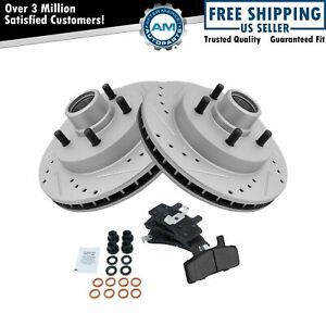 Front Metallic Brake Pad Performance Drilled Slotted Coated Rotors For Chevy