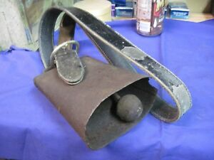 Antique Milk Cow Bell Goat Horse Leather Neck Strap Primitive Farm Vintage Steel