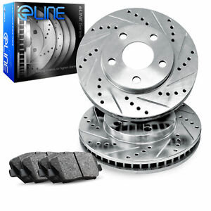 Brake Rotors Front Kiteline Drilled Slotted Pads Ford Mustang 1994 04 Cobra