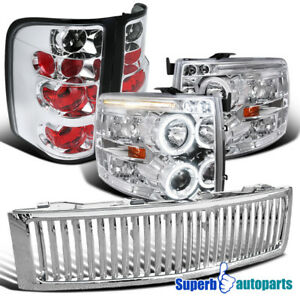 2007 2012 Chevy Silverado Led Halo Projector Headlights tail Lamps grille Chrome