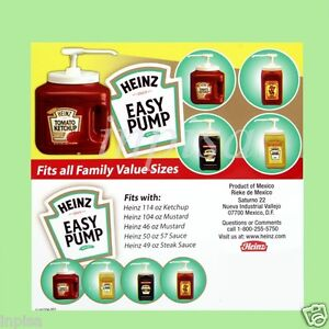 Heinz 4 Easy Pump Dispenser For 49oz 114oz Ketchup Mustard Mayo Sauce