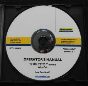 Genuine New Holland T2310 T2320 Tractor With Cab Operators Maintenance Manual