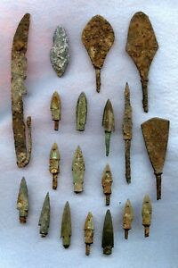 Ancient Chinese Iron Spear Arrows Tips Asst Lot 19 Pcs Asst Condition