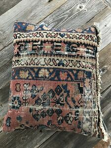 Antique Vintage Kilim Throw Pillow Kelim Rug Cushion Boho Chic Mohair Velvet