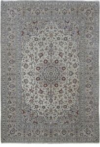 Persian Oriental Hand Knotted Signed 8 X 12 Kashan Popular Design Ivory Rug