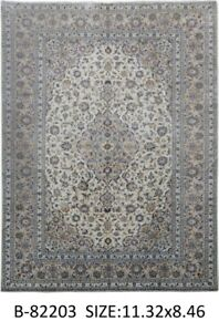 Signed 9 X 11 Persian Kashan Affordable Popular Design Beige Handmade Rug