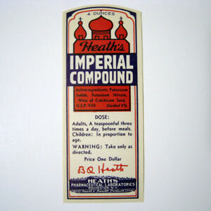 Heath S Imperial Compound Antique Pharmacy Drug Store Medicine Bottle Label New
