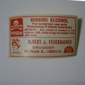 Rubbing Alcohol Antique Pharmacy Drug Store Medicine Bottle Label New