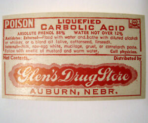 Liquefied Carbolic Acid Antique Pharmacy Drug Store Medicine Bottle Label New