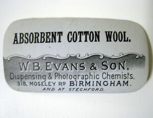 Absorbent Cotton Wool Antique Pharmacy Drug Store Medicine Bottle Label New